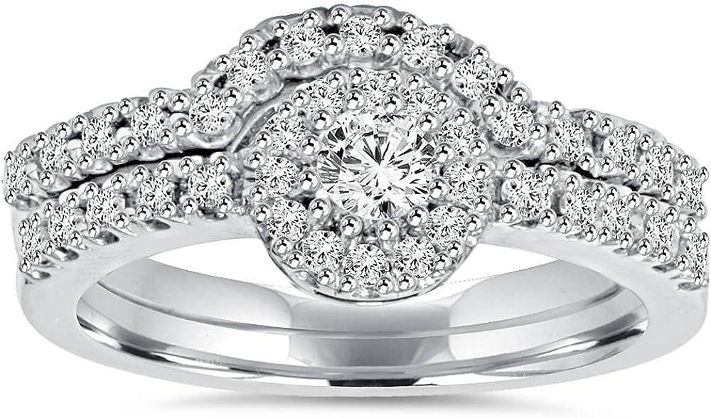 1ct Elegant Max 42% OFF Diamond Engagement Matching Wedding Ring 14K White Set Gold