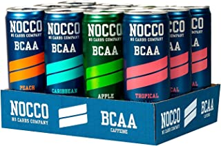 NOCCO BCAA Variety Pack 12 x 12 Fl Oz Carbonated, ZERO Sugar, Low Calorie, Ready to drink BCAA energy drink from fitness o...