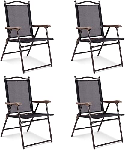 lowest Giantex Set of 4 Folding Sling Back Chairs Indoor Outdoor Camping Chairs Garden outlet sale Patio Pool Beach Yard outlet sale Lounge Chairs w/Armrest (Black) online sale