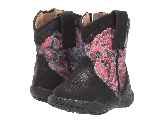 Roper Kids  Glitter Geo (Infant/Toddler) (Black Vamp/Paisley Glitter Shaft) Cowboy Boots