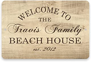Pattern Pop Personalized Subtle Wood Grain Welcome to The Family Beach House Metal Room Sign