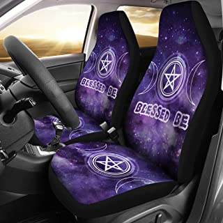 MoonChildWorld Blessed Be Triple Moon Pentagram Pentacle Purple Wicca Pagan Car Seat Covers (2Pcs) Universal Fit