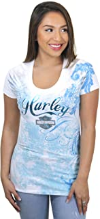 HARLEY-DAVIDSON Womens Devoted Angel B&S Foil Print White Short Sleeve T-Shirt