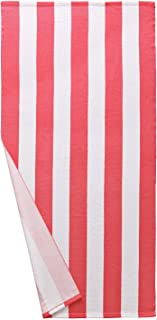 Exclusivo Mezcla Microfiber Cabana Striped Beach Towel Pink and White (30