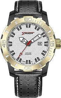 ساعة بسوار جلدي ومينا باللون الابيض للرجال من كروزر - طراز C7229-GXW