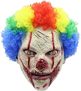 Clown Mask with Colorful Hair Scary Clown Mask for Kids & Adult Halloween Costume Sinister Circus Mask
