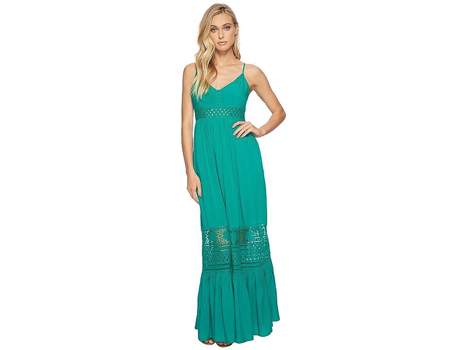 Jack by BB Dakota Kaia Midi Dress with Stripe Lace Insets (Pepper Green) Women