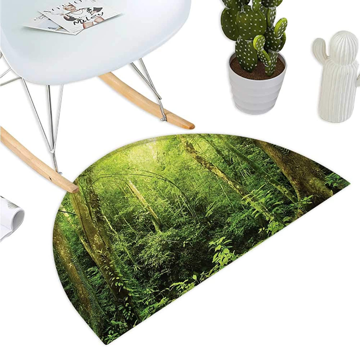 Rainforest Semicircular Cushion Tropical Rainforest Landscape Malaysia Asia Green Tree Trunks Uncultivated Wood Print Bathroom Mat H 43.3  xD 64.9  Green