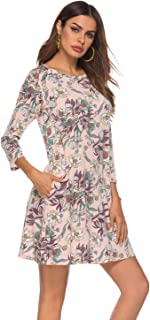 Plus Size Dresses Women 3/4 Sleeve Floral Shift A Line T Shirt Dress with Pockets