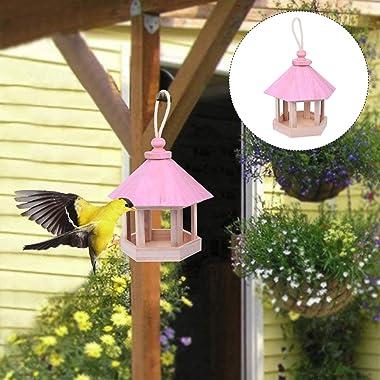 YARDWE Hanging Bird Feeder House Wooden Bird Feeder House Outdoor Decorative Birdhouse for Wild Birds Finch Cardinal Bluebird