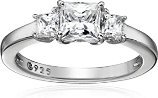 Platinum or Gold Plated Sterling Silver Princess-Cut 3-Stone Ring made with Swarovski Zirconia