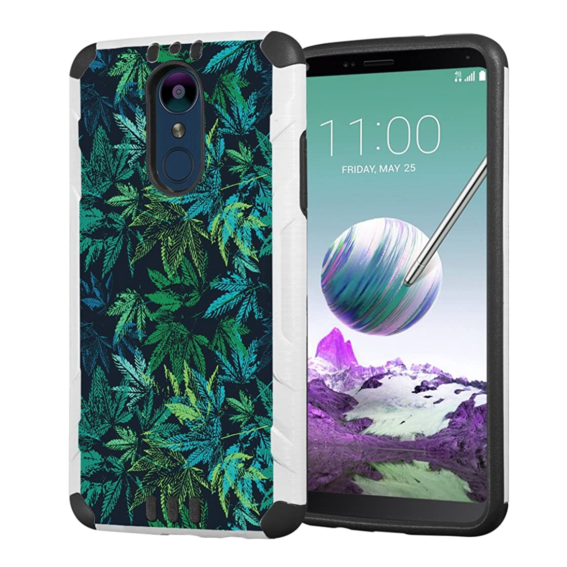 Moriko Case Compatible with LG Stylo 4 Plus, LG Stylo 4, LG Q Stylus [Drop Protection Hybrid Dual Layer Armor Protective Dual Layer Case White] for LG Stylo 4 - (Green Leaf)