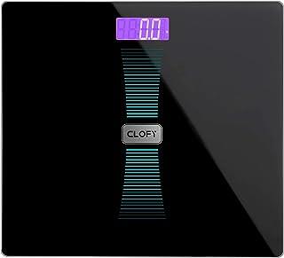 CLOFY Báscula de Baño Digital Alta Medición Precisa 200kg/440Ib/31st, Balanzas Electrónicas con Cristal Templado y LCD Retroiluminación, Escala de Peso con Control del Peso (Negro)