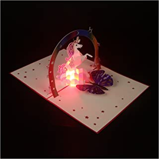 Pop Up Card Birthday Card Gift Card, 3D Card Unicorn Hand-made Light Up Music Greeting Card for Birthday Christmas