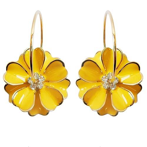 82ed8e19cc27be Navachi 18k Gold Plated Enamel Flower Crystal Hoop Earrings(dia. 3cm)