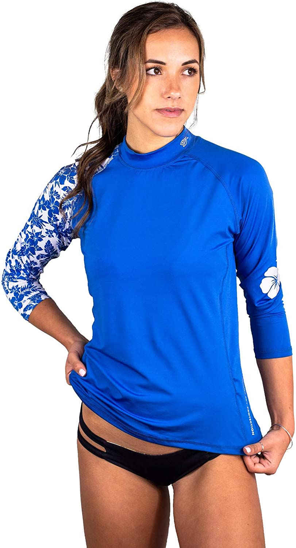 Banana Boat Women's Long Sleeve Rashguard UPF50+ Sun Protective Swim Shirt Hibiscus Islander Top