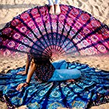 Folkulture Set of 2 Mandala Tapestry Hippie Indian Round Mandala Beach Blanket Picnic Table Cover Boho Gypsy Cotton Tablecloth Beach Towel Meditation Rug Circle Yoga Mat - 72 Inches, Blue and Pink