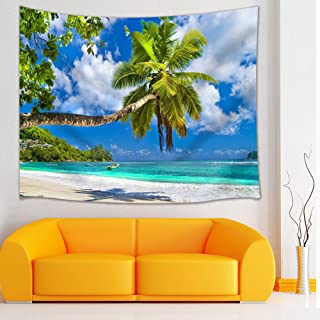 Shocur Summer Beach Tapestry, Tropical Ocean Islands Coconut Trees and Sky Sunshine Scenery Tapestry, Wall Hanging Art for Living Room Bedroom Home Decor, 51 X 59 Inches with Pins