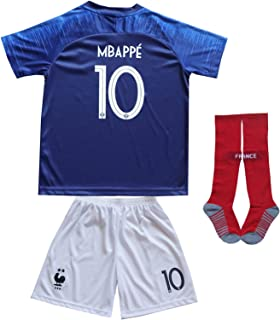 2018 France Antoine Griezmann #7 Kylian MBAPPE #10 Home Blue Kids Soccer Football Jersey Socks Shorts Youth Sizes