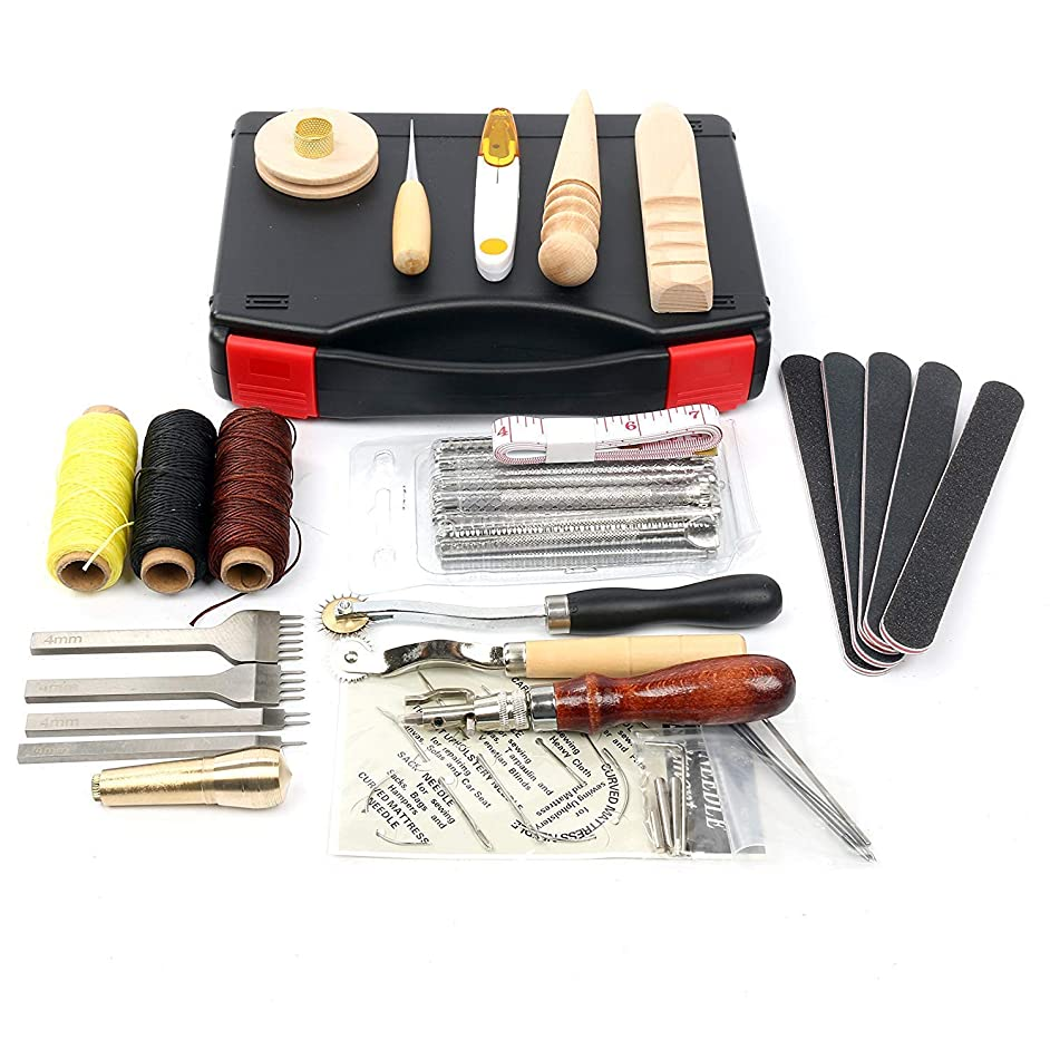 YaeKoo 59Pcs Leather Craft Hand Tools Kit for Hand Sewing Stitching Carving Stamping Punch Set Edger Groover Needle