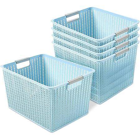 Paquet de 5 paniers de rangement en plastique, boîte de panier de rangement en rotin à armure en plastique portable pour livres de maquillage, cuisine, salle de bain - 270 mm x 190 mm x 140 mm (Bleu)