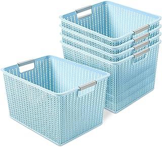 Paquet de 5 paniers de rangement en plastique, boîte de panier de rangement en rotin à armure en plastique portable pour l...