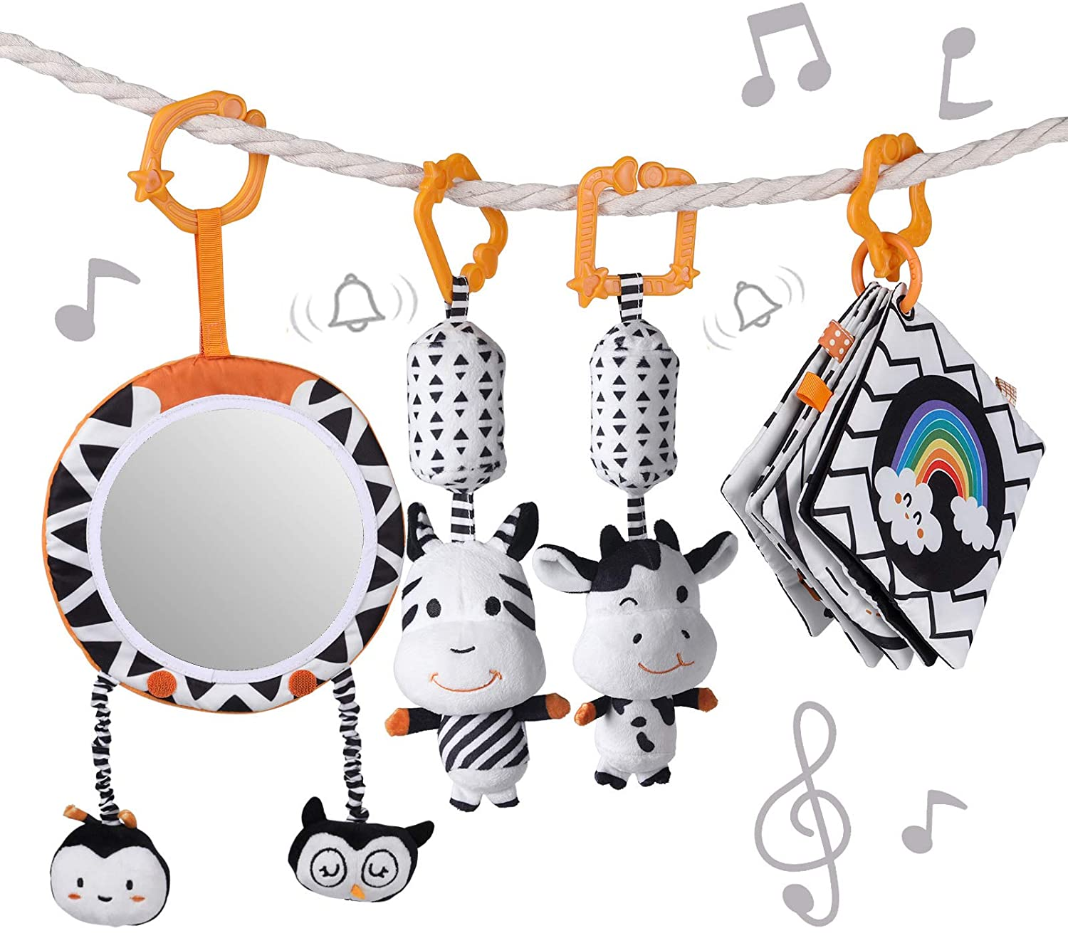 TUMAMA Baby Toys Gift Set Black and White Tummy Time Mirror Plush Rattles Rings and Crinkle Soft Cloth Book Flashcard, Car Seat Stroller Hanging Toy for 0 3 6 9 12 Months Newborn Infant Toddler