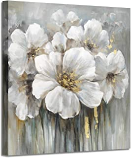 Wall Art Floral Pictures Artwork: White Lily Oil Painting Botanical Print on Canvas for Bathroom ( 12