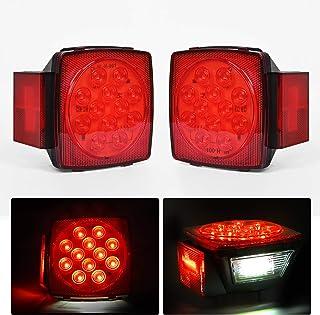 Nilight 2PCS Square LED Trailer Light Low Profile Submersible IP68 LED Stop Turn Tail Side Marker License Light for 12V Ut...