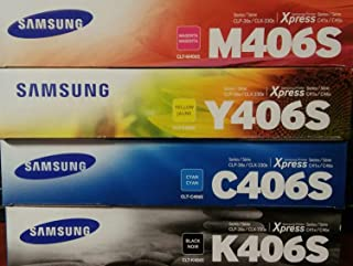 Samsung 406 Genuine Color Toner Cartridge Set (CLT-K406S CLT-C406S CLT-M406S CLT-Y406S)