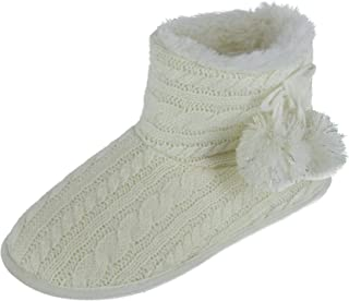 PJ Couture Women's Cable Knit Bootie Slipper with Poms, Medium (7/8), Ivory