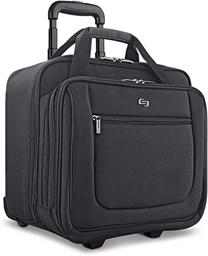 """Solo New York Bryant Rolling Bag with Wheels, Fits Up to 17.3-Inch Laptop, Black, 14"""" x 16.8"""" x 5"""""""