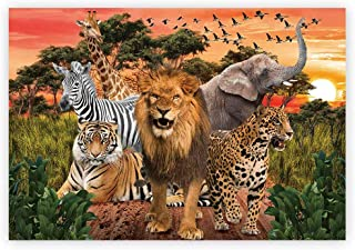 Funnytree 7x5ft African Safari Scenic Backdrop Realistic Wild Animals Jungle Forest Photography Background Tropical Summer Boy Baby Shower Birthday Party Banner Decorations Photo Studio Booth