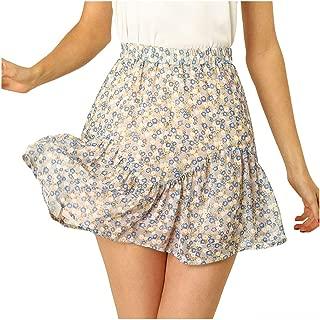 Allegra K Women's Ruffled Floral Print Skirt Elastic High Waist A-Line Sweet Layer Short Mini Skirts