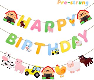 Faisichocalato Farm Animals Happy Birthday Banner, Party Decorations Set for Barnyard Farm Themed Birthday Baby Shower Party Supplies, Set of 3