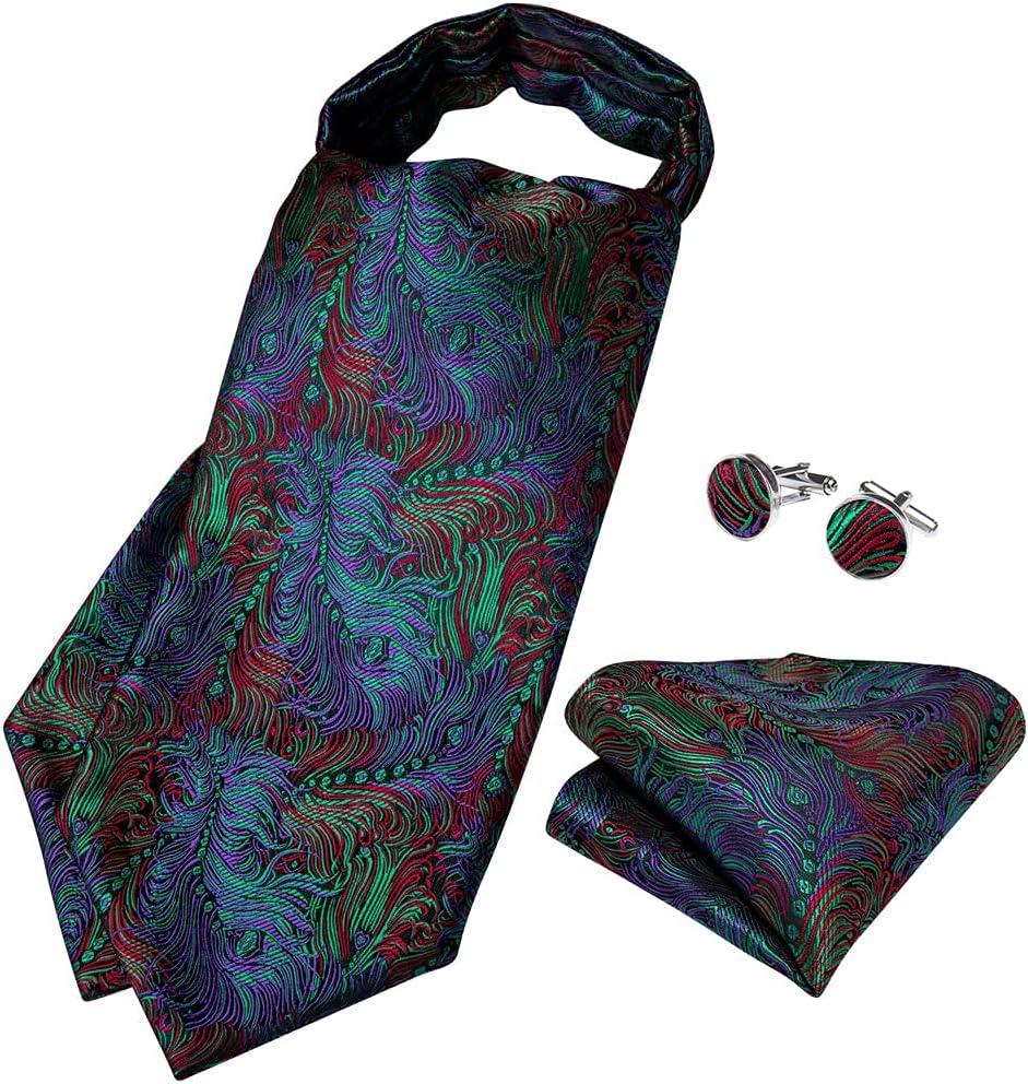 YFQHDD Teal Green Cravat Neck-Tie Scrunch Men Vintage Wedding Formal Self British Style Floral Necktie Hanky Set (Color : A, Size : One Size)