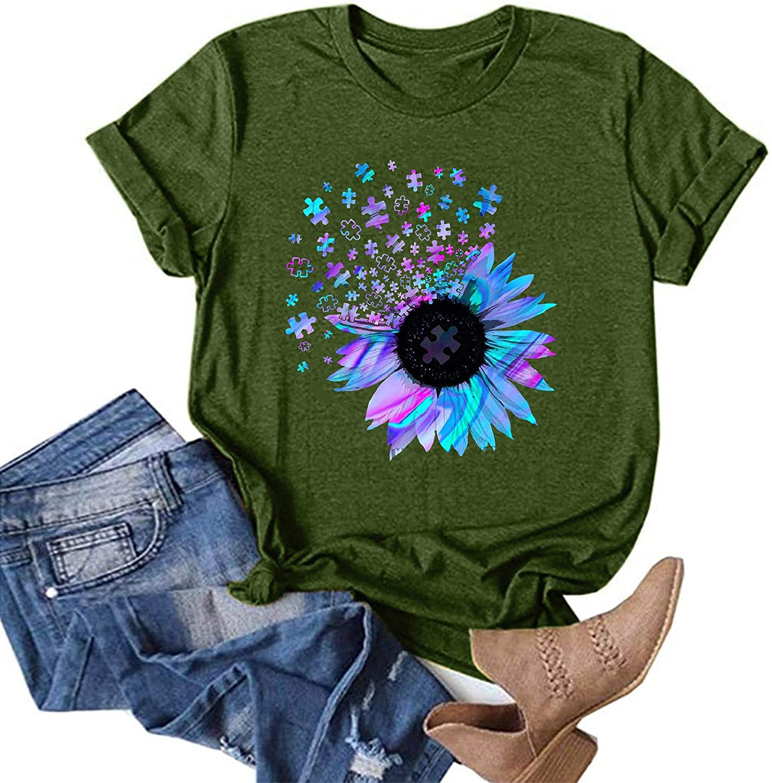 POTO Summer Tops for Women, Women Short Sleeve Shirts Fashion Graphic T-Shirts Casual Dandelion Sunflower O-Neck Blouses