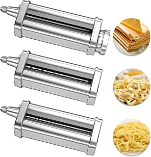 X Home 3-Piece Pasta Attachment Set for KitchenAid Mixer, Durable 304 Stainless Steel, Include Pasta Roller, Spaghetti Cutter, Fettuccine Cutter