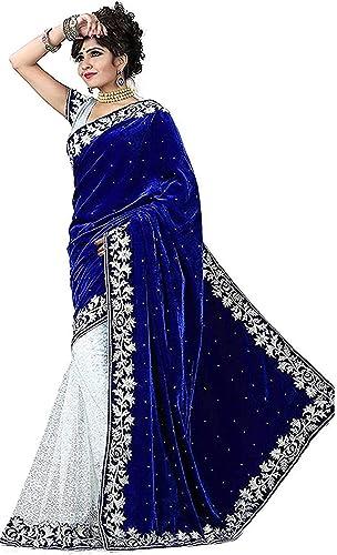 Women s Velvet Saree With Blouse Piece