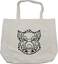 Ambesonne Razorback Shopping Bag, Uncolored Outline Design Drawing of Wild Boar Pig Head Illustration, Eco-Friendly Reusable Bag for Groceries Beach and More, 15.5