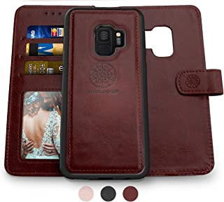 Shields Up Galaxy S9 Wallet Case, [Detachable] Magnetic Wallet Case, Durable and Slim, Lightweight with Card/Cash Slots, Wrist Strap, [Vegan Leather] Cover for Samsung Galaxy S9 -Brown
