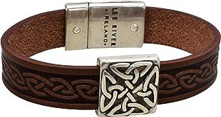 01104A Braden Square Celtic Leather Cuff, Brown