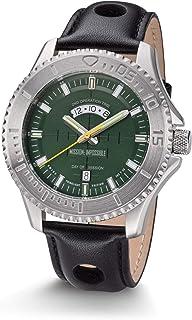 Mission Impossible Tactical Watch H3 Reloj Auto Luminoso Acero Verde con Correa De Cuero Negro