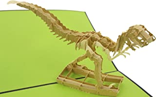 PopLife T-Rex Velociraptor Dinosaur Pop Up Card, 3D Card for All Occasions - Fossil Display