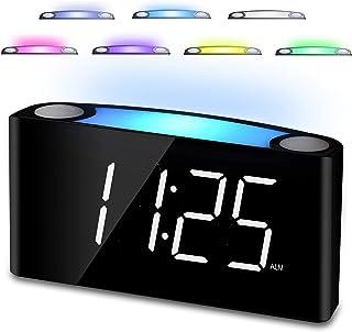 """Digital Alarm Clock for Bedrooms, 7"""" LED Large Display & Slider Dimmer, 12/24 H, 2.."""