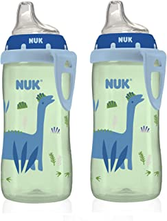 NUK Blue Dino Silicone Spout Active Cup, 10-Ounce (2 Pack)