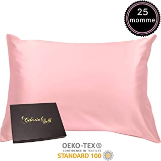 100% Silk Pillowcase for Hair Zippered Luxury 25 Momme Mulberry Silk Charmeuse Silk on Both Sides of Cover -Gift Wrapped- (Standard, Pink)