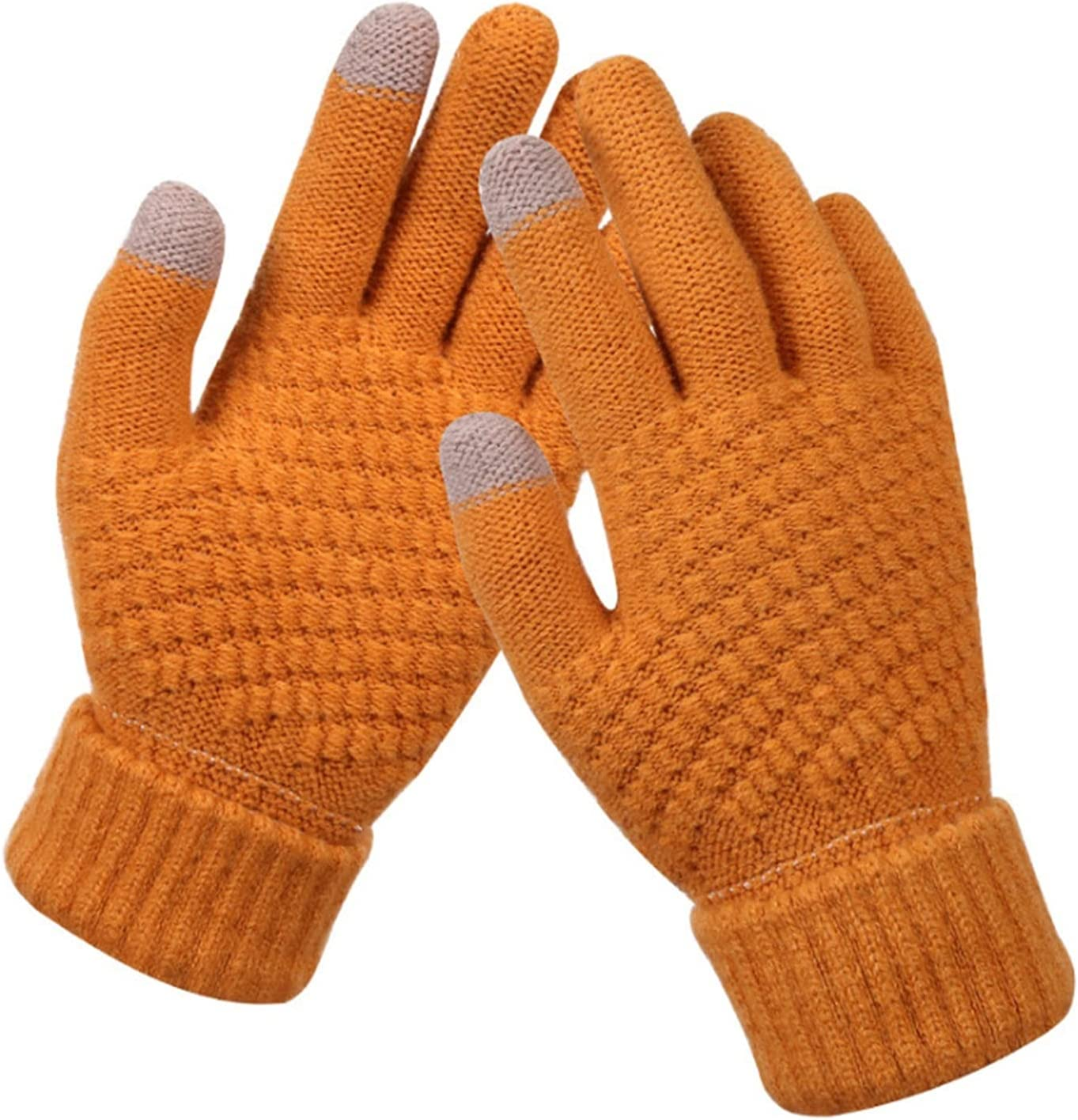 LDDJ Gloves Women's Winter Touch Screen Gloves Thicken Warm Knitted Stretch Gloves Imitation Wool Full Finger Outdoor Skiing Gloves Keep Warm (Color : Khaki, Gloves Size : One Size)