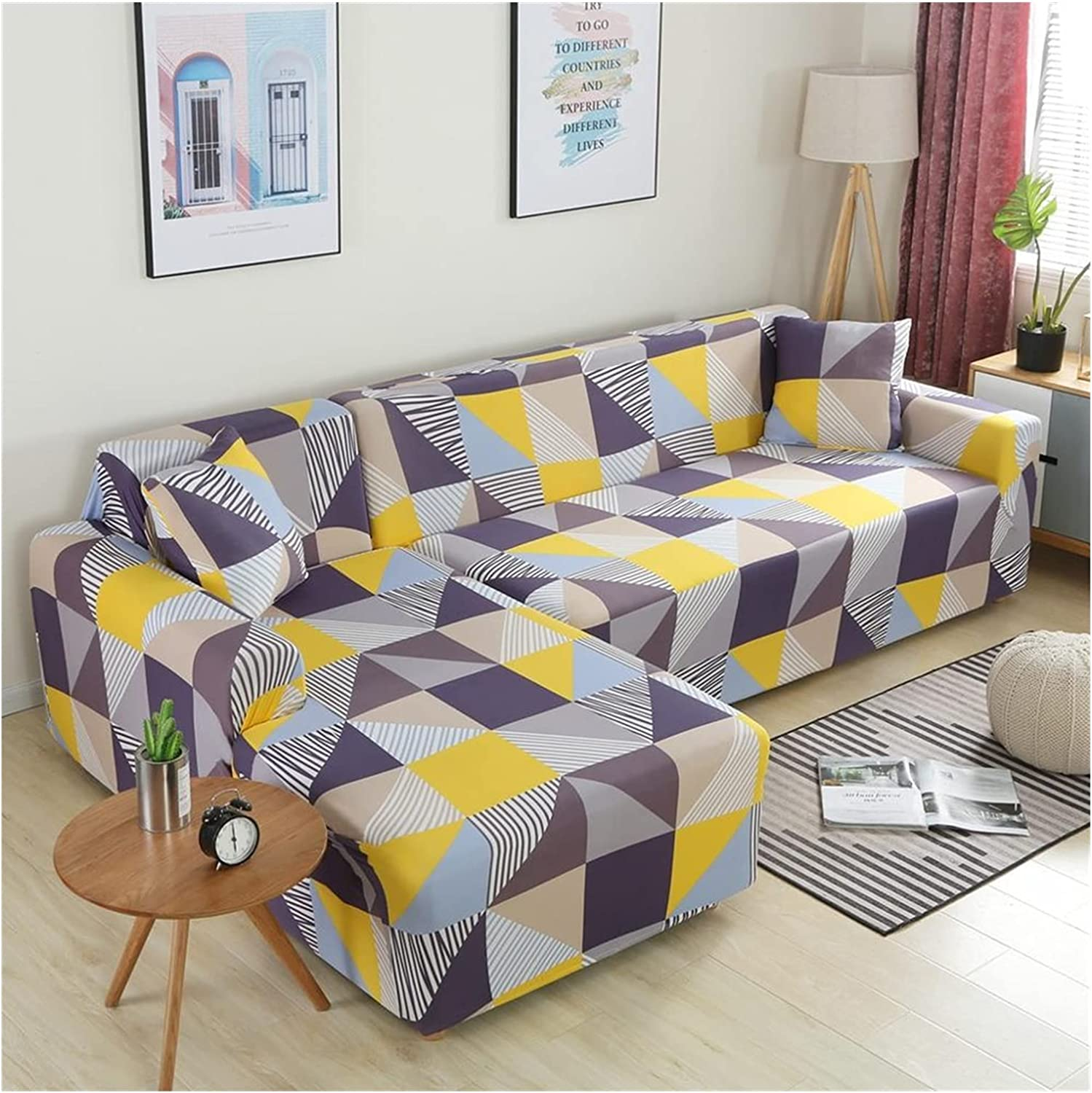 ZHBO Sofa OFFicial mail order Cover Elastic Our shop most popular Sectional Couch L-Shape Slipcover Corner