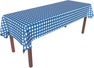 Heavy Duty Disposable Plastic Tablecloth Tablecover Rectangle Blue White Gingham Checkered 54 Inch. x 108 Inch. 6 Pack Party Picnic Outdoor Beach